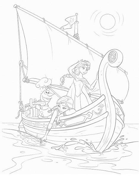 coloriage en ligne reine des neiges - Elsa Anna et Olaf en bateau