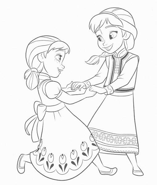 coloriage frozen - Anna et Elsa enfants jouent ensemble