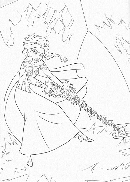 coloriage frozen - Coloriage d'Elsa enchainée