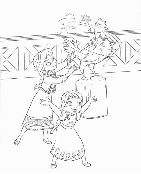 coloriage frozen - Elsa enfant crée un coq de glace
