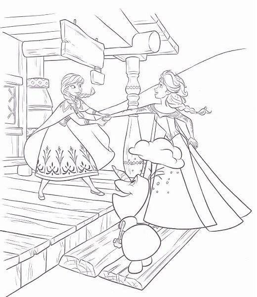 coloriage reine des neiges à imprimer - Coloriage d'Elsa Anna et Olaf