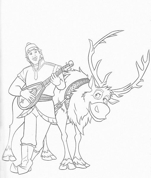 coloriage reine des neiges à imprimer - Coloriage de Sven et Kristof