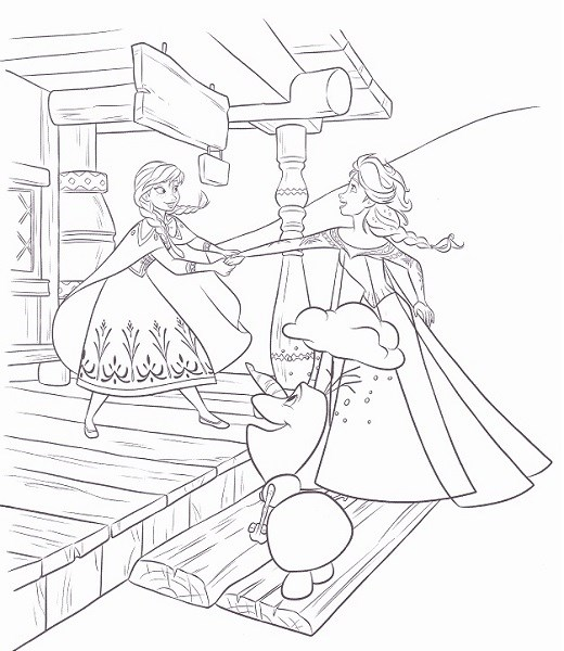 Coloriage Reine Des Neiges Anna Elsa Et Olaf.Coloriages Reine Des Neiges Et Activites A Imprimer