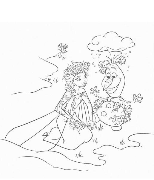 coloriage reine des neiges à imprimer - Coloriage d'Elsa et Olaf