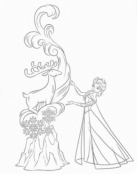 coloriage reine des neiges à imprimer - Elsa et une oeuvre de glace