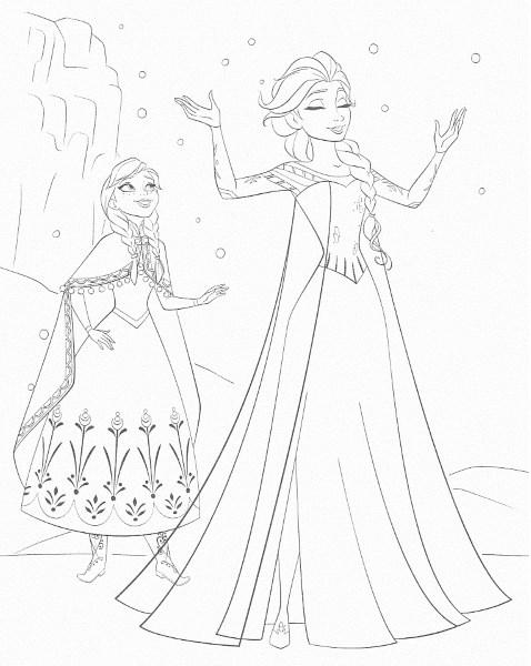 dessin à imprimer reine des neiges - Coloriage d'Anna et Elsa qui fait neiger