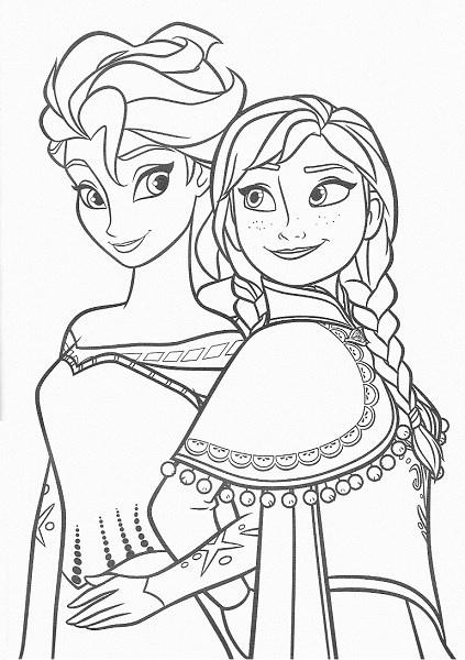 dessin à imprimer reine des neiges - Coloriage d'Anna et Elsa