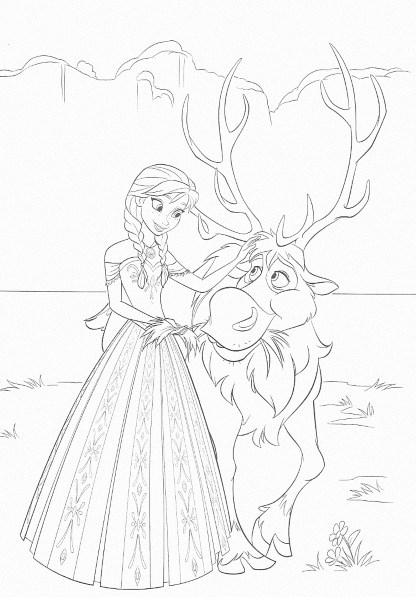 dessin à imprimer reine des neiges - Coloriage d'Anna et Sven