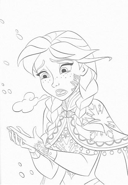dessin à imprimer reine des neiges - Coloriage d'Anna qui a froid