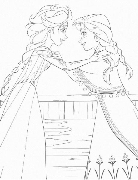 dessin à imprimer reine des neiges - Coloriage d'Elsa et Anna heureuses