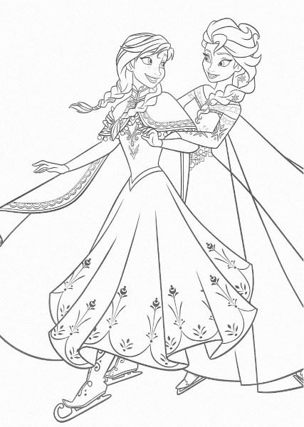 dessin à imprimer reine des neiges - Anna et Elsa font du patin à glace