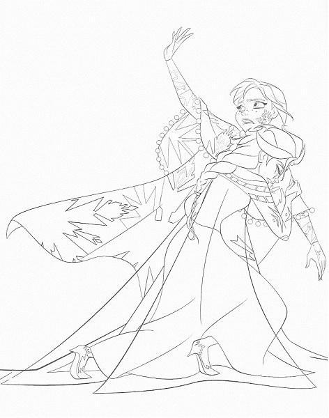 dessin à imprimer reine des neiges - Coloriage d'Anna et Elsa 2