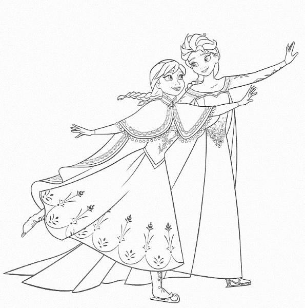 dessin à imprimer reine des neiges - Coloriage d'Elsa et Anna qui font du patin à glace