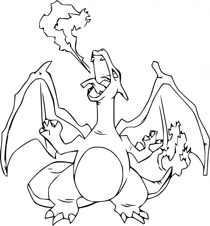 Coloriage Pokemon - Coloriage de Dracaufeu