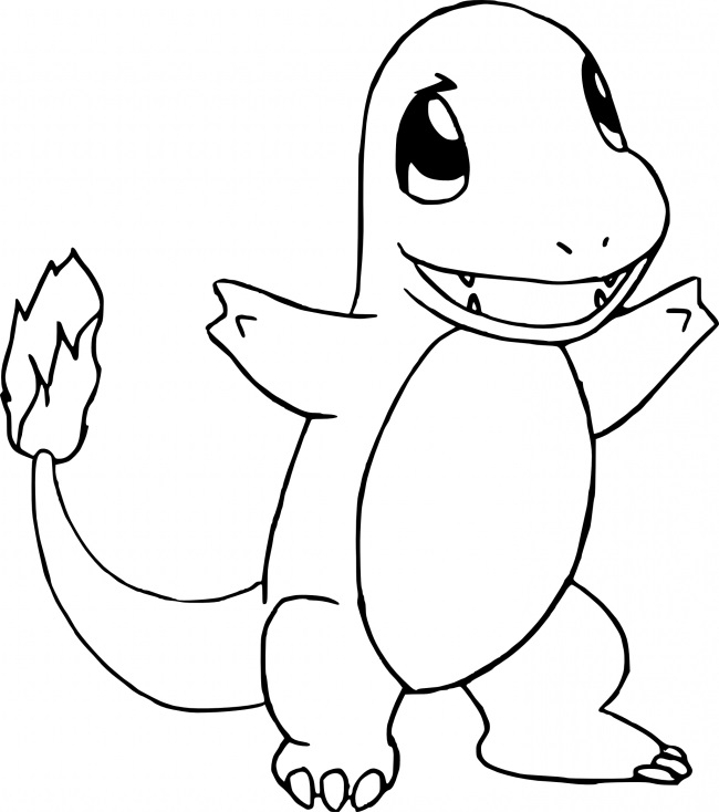 Coloriage Pokemon - Coloriage de Salamèche