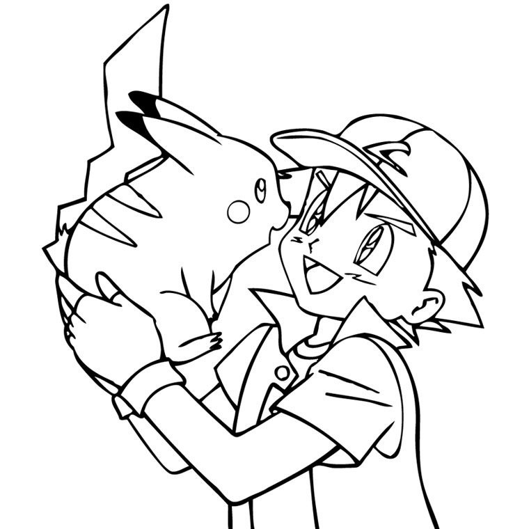 Dessin Pokemon à imprimer - Sacha et Pikachu