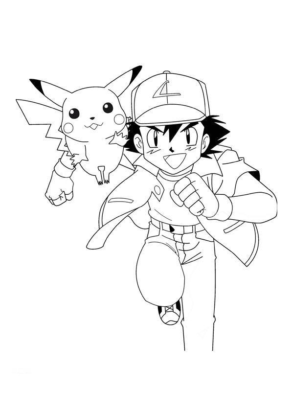 Pokemon à colorier - Pikachu et Sacha