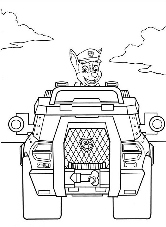 Coloriage et dessin Pat Patrouille - Coloriage de Chase et son camion de policier
