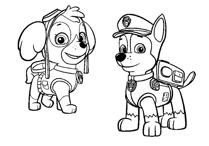 Coloriage et dessin Pat Patrouille - Coloiage Chase et Stella
