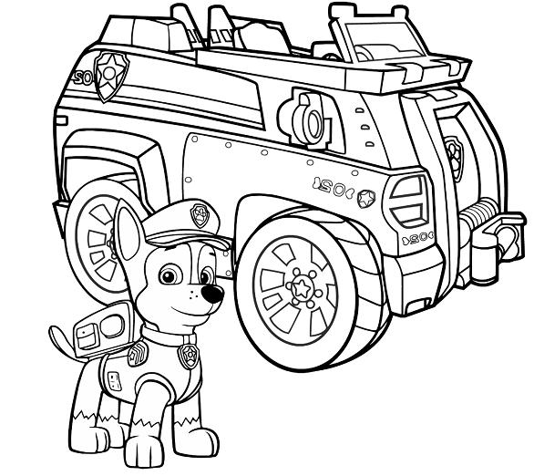 Coloriage et dessin Pat Patrouille - Coloriage de Chase et son véhicule camion de police