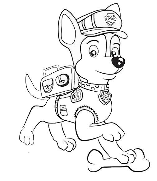 Coloriage et dessin Pat Patrouille - Coloriage de Chase qui joue avec un os