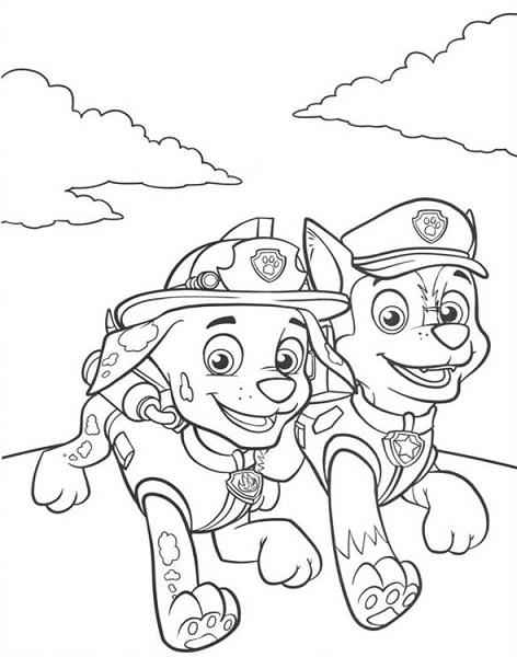 Coloriage et dessin Pat Patrouille - Coloriage de Marcus et Chase
