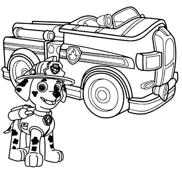 Coloriage et dessin Pat Patrouille - Coloriage de Marcus et son véhicule camion de pompier