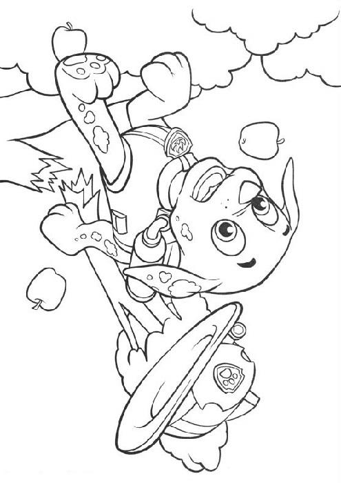 Coloriage et dessin Pat Patrouille - Coloriage de Marcus qui fait une chute du pommier