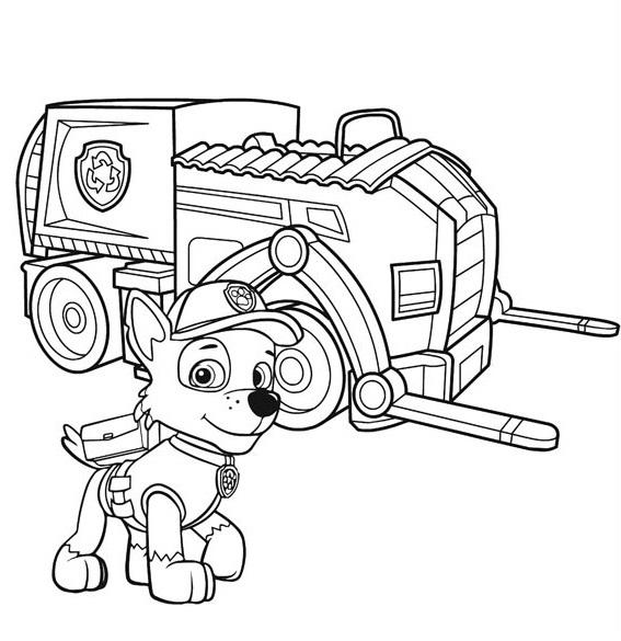 Coloriage et dessin Pat Patrouille - Coloriage de Rocky et son véhicule de recyclage