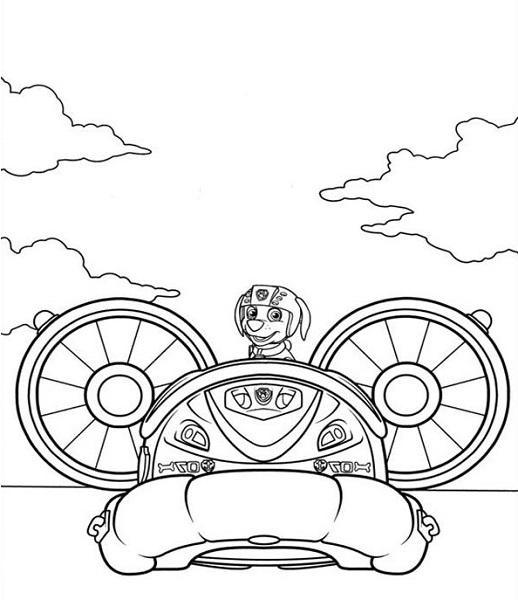 Coloriage et dessin Pat Patrouille - Coloriage de Zuma et son aéroglisseur