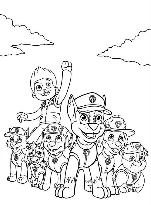 Coloriage et dessin Pat Patrouille - Coloriage de la Pat Patrouille au complet, même Ryder !