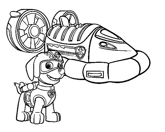 Coloriage et dessin Pat Patrouille - Dessin à colorier de Zuma et son aéroglisseur