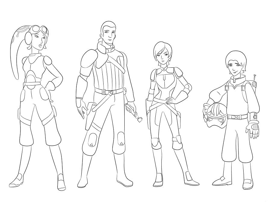 Coloriage et dessins Star Wars Rebels - Coloriage des héros principaux
