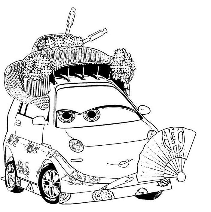 Coloriages Cars et dessins Cars 2 - Coloriage d'Okuni