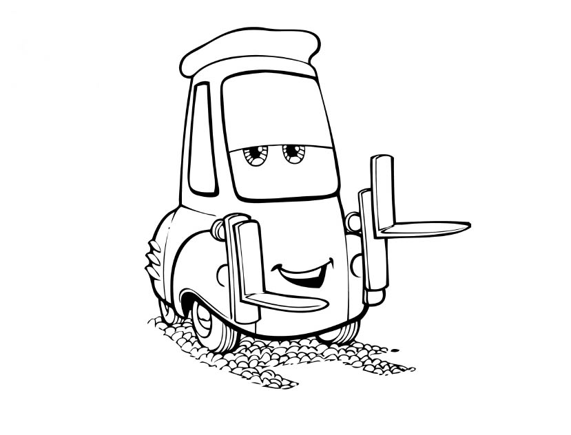 Coloriages Cars et dessins Cars 2 - Coloriage de Guido 2