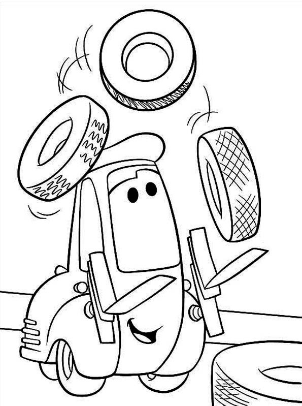 Coloriages Cars et dessins Cars 2 - Coloriage de Guido