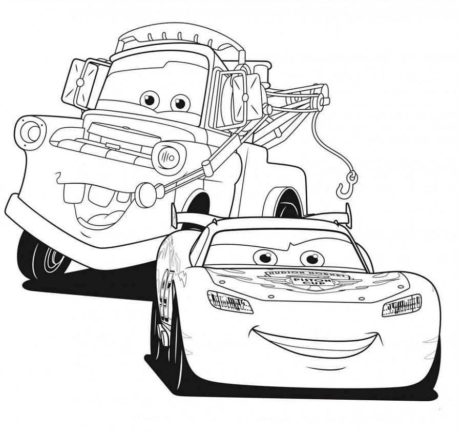 Coloriages Cars et dessins Cars 2 - Coloriage de Martin et FLash Mc Queen