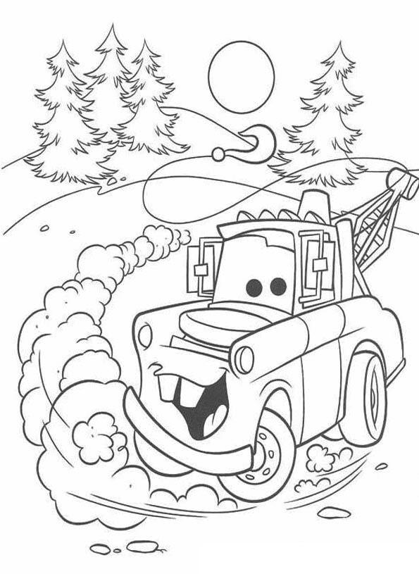Coloriages Cars et dessins Cars 2 - Coloriage de Martin qui dérape
