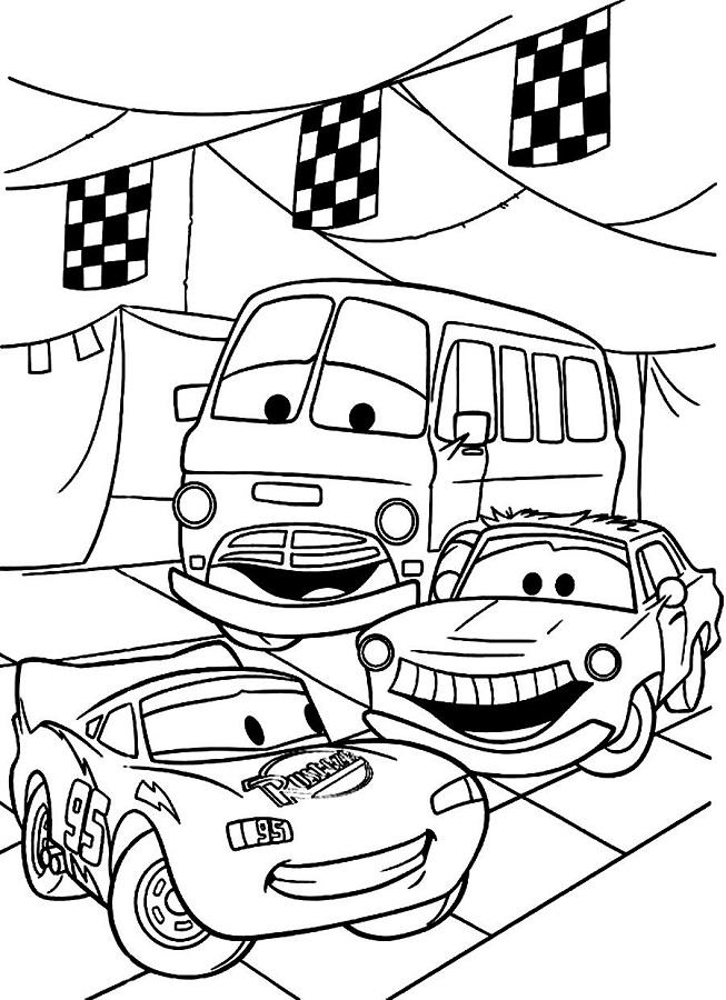 Coloriages Cars et dessins Cars 2 - Coloriage de plusieurs voitures dont Flash
