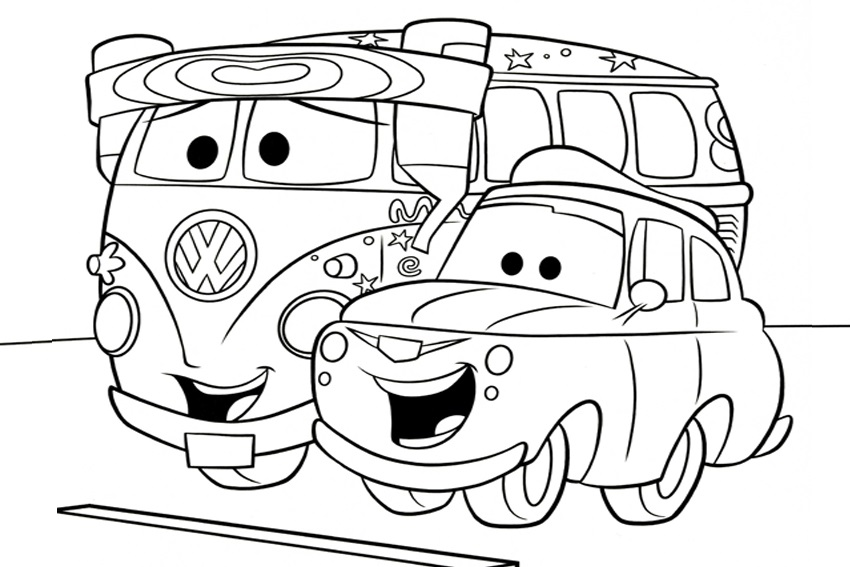 Coloriages Cars et dessins Cars 2 - Coloriage du Van Fillmore et Luigi