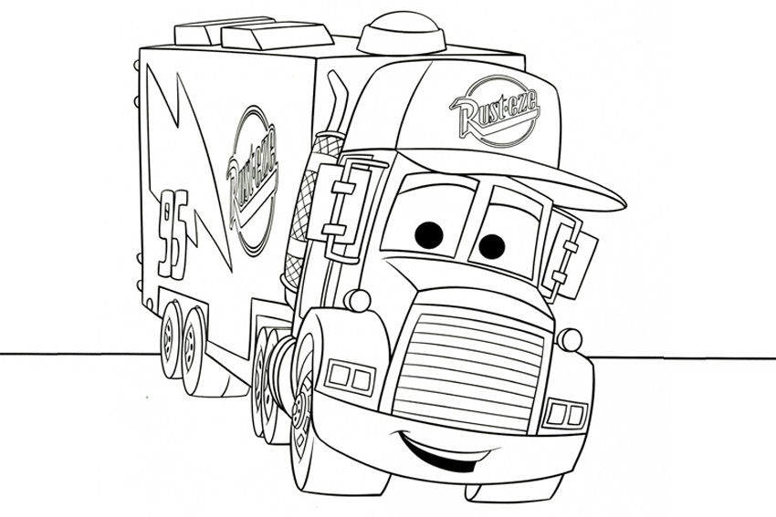 Coloriages Cars et dessins Cars 2 - Coloriage du camion Mack