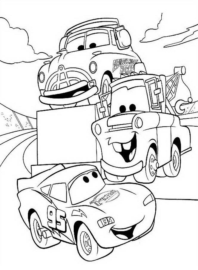 Coloriages Cars et dessins Cars 2 - Coloriages de plusieurs voitures dont Flash et Martin