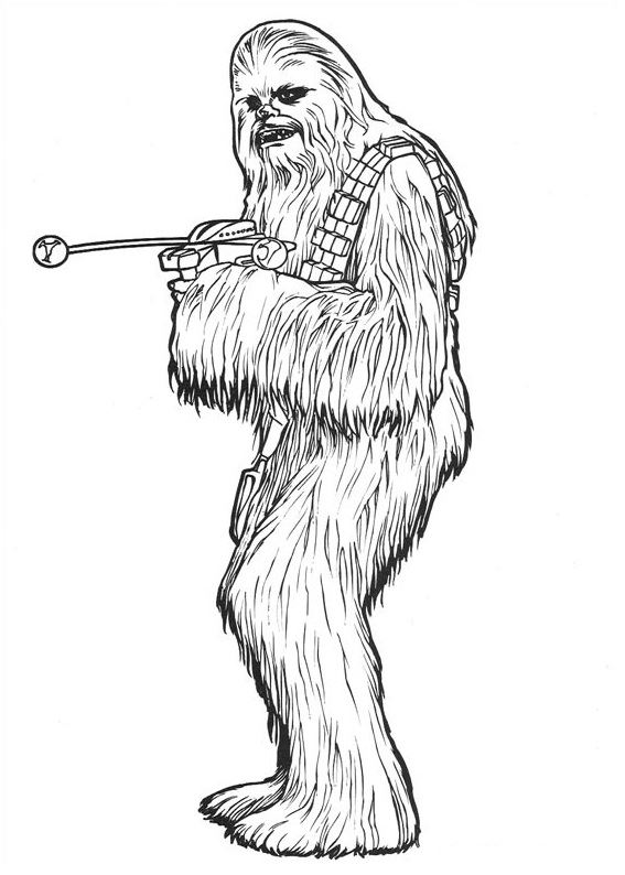 coloriage Star Wars et dessins - Coloriage Chewbacca