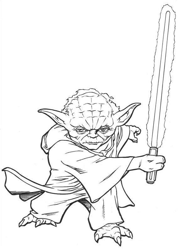 coloriage Star Wars et dessins - Coloriage Yoda le Maitre Jedi