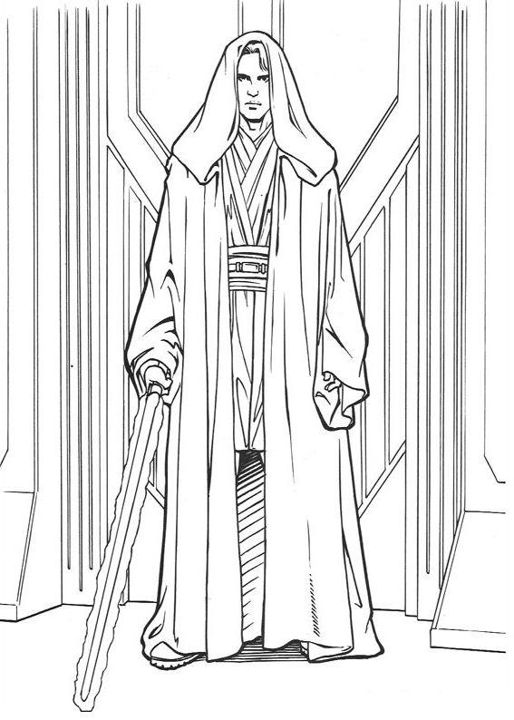 coloriage Star Wars et dessins - Coloriage d'Anakin méchant