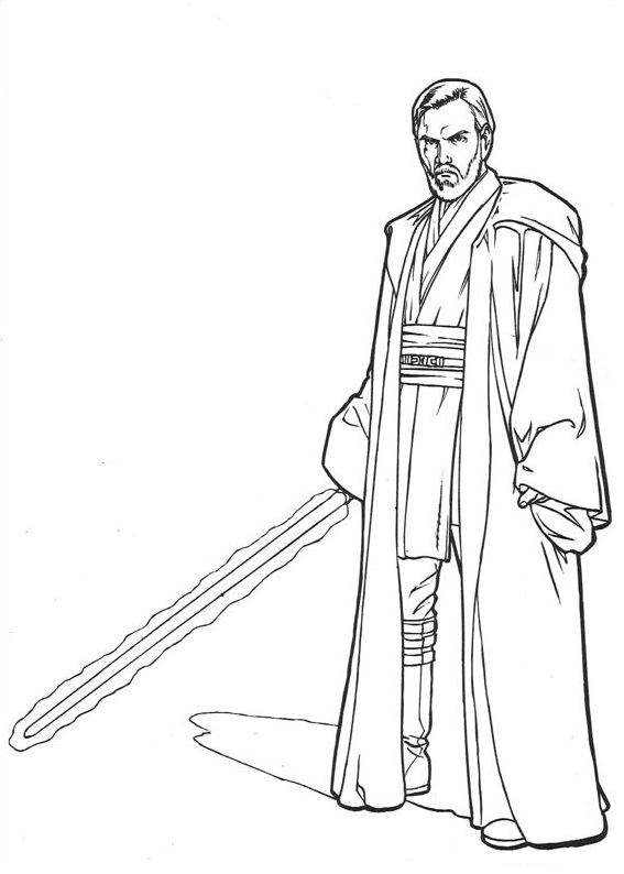 coloriage Star Wars et dessins - Coloriage d'Obi Wan Kenobi