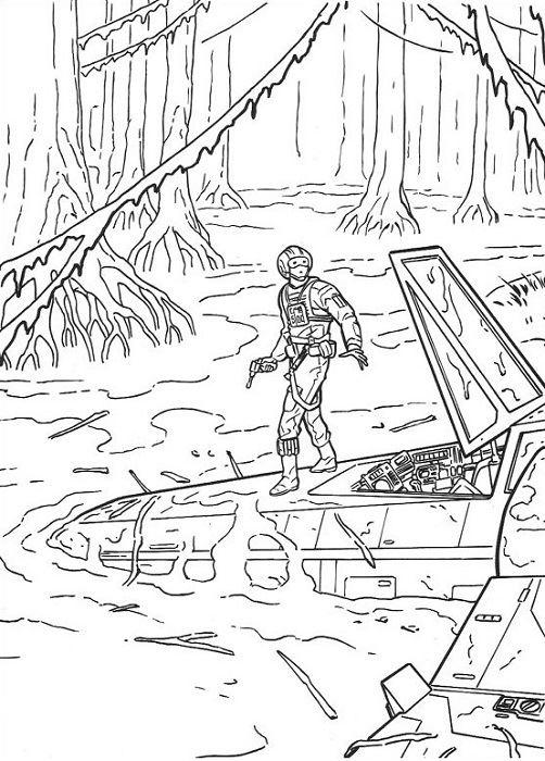 coloriage Star Wars et dessins - Coloriage de Luke dans les marais