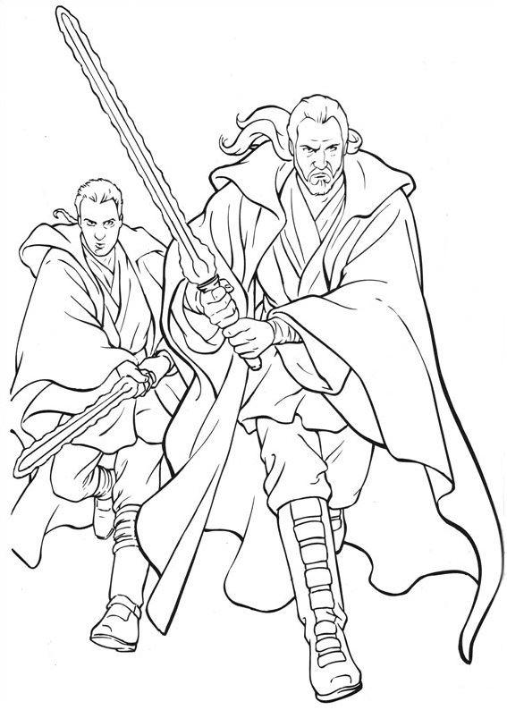 coloriage Star Wars et dessins - Coloriage de Qui Gon Jihn et Anakin