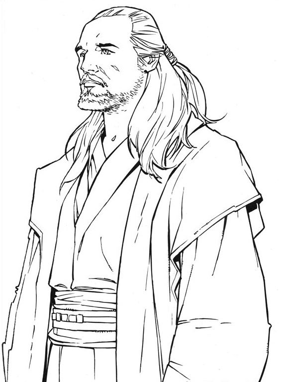 coloriage Star Wars et dessins - Coloriage de Qui Gon Jihn