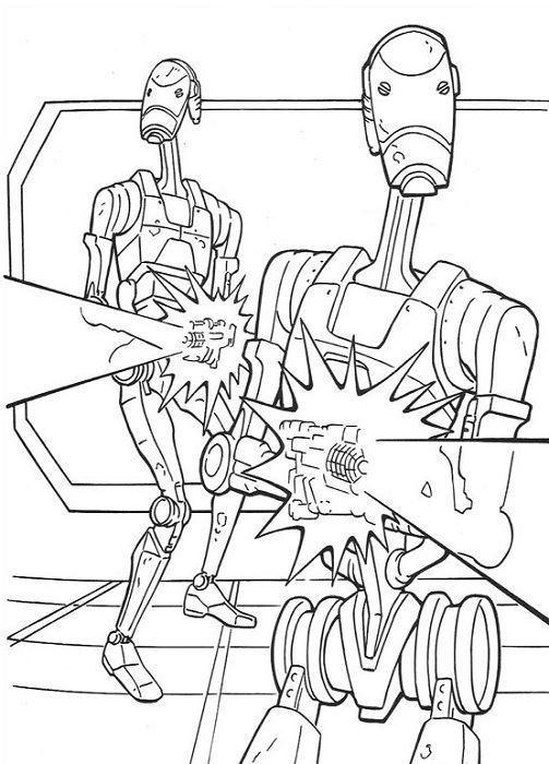 coloriage Star Wars et dessins - Coloriage de droïdes de l'empire
